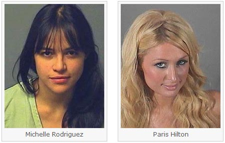 Mug Shots of Michelle Rodriguez and Paris Hilton