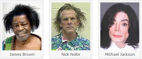 Mug Shots of James Brown, Nick Nolte and Michael Jackson