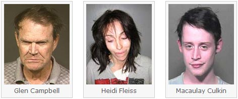 Mug Shots of Glen Campbell, Heidi Fleiss and Macauley Culkin